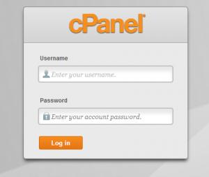 cpanel login screen
