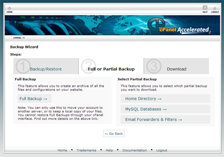 cPanel Partial backup